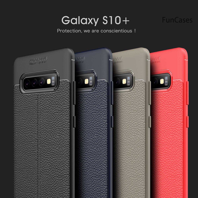 Funda protectora Simple con patrón Lychee para Samsung S10 5G, funda protectora...