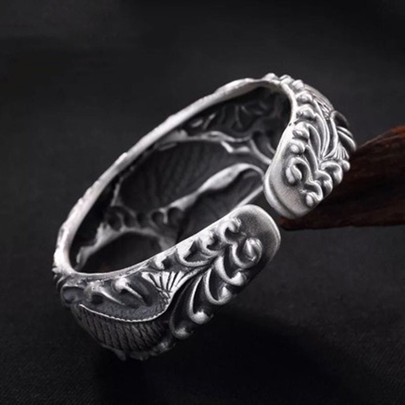 925 Sterling Silver Carved Carp Lady Bracelet Embossed Three-dimensional Pisces Lotus Opening Wide Face Bracelet Jewelry