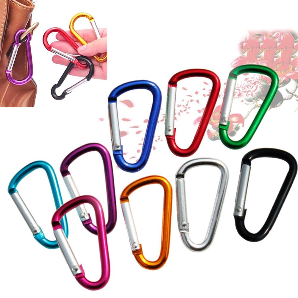 Clip de anillo en forma de D para Botón de escalada, accesorio para escalada y senderismo, de aleación de Color aleatorio, llavero con hebilla de seguridad