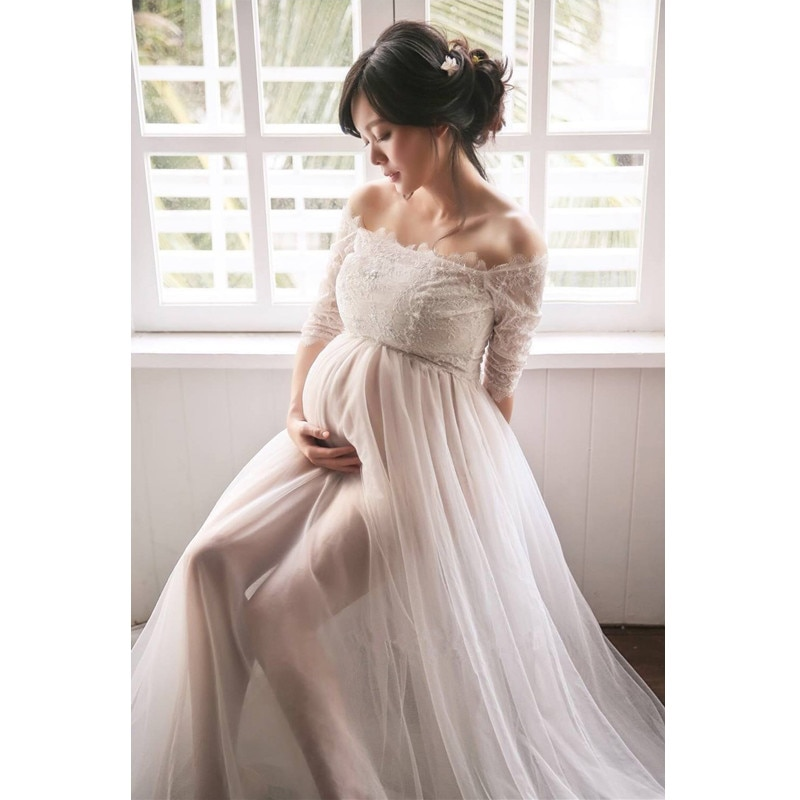 Pregnant women Dress for Photo Shoot Maxi Maternity Gown Shoulderless Lace Fancy Sexy Women Maternity Photography Props enlarge