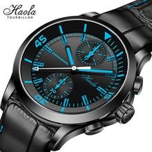 Haofa Automatic Mechanical Chronograph Watch Men Sapphire Bule Dial Pilot Watch 40mm Sport Man Wrist