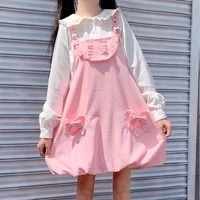 two piece set japanese sweety soft girly peter pan collar cute rabbit ears full sleeve shirts pink bow pocket suspender dresses