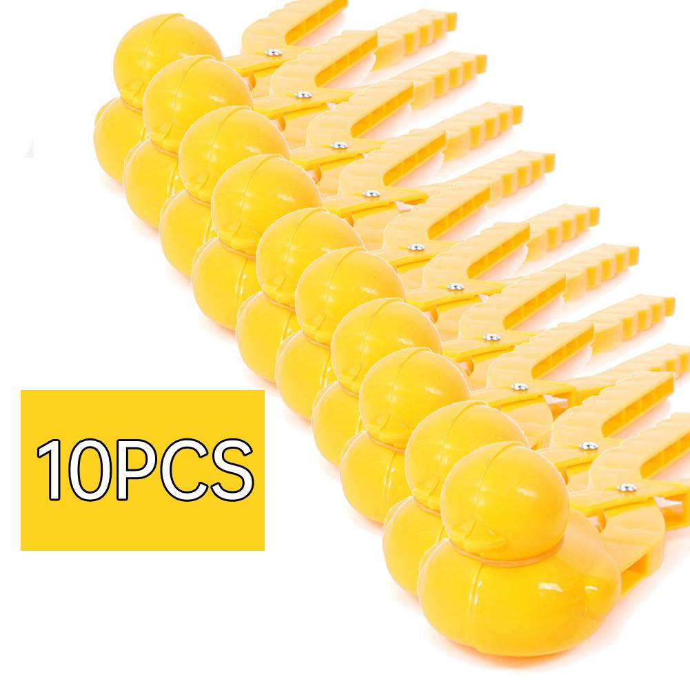 10PCs Plastic Snowball Maker Clip Safety Cartoon Duck Winter Snow Sand Mold Tool for Snowball Fight Outdoor Fun Sports Toys