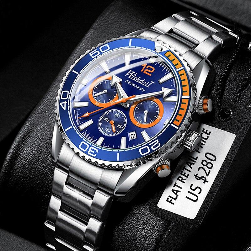 WISHDOIT 2021 موضة جديدة ساعة غوص الرجال الأزرق العلامة التجارية الفاخرة الفولاذ المقاوم للصدأ مقاوم للماء الترفيه الرياضة كوارتز ساعة رجالي