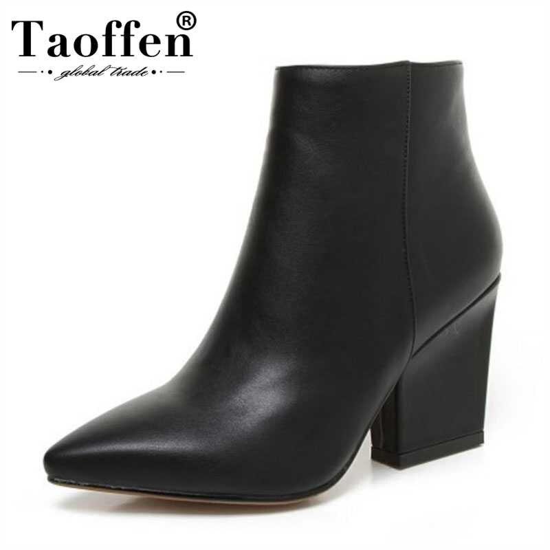 Taoffen Sexy Frauen Stiefeletten Frauen Winter Warme OL Schwarz Schuhe Zip Kappe Wies Hohe Schuhe Frauen Schuhe Größe 32-43