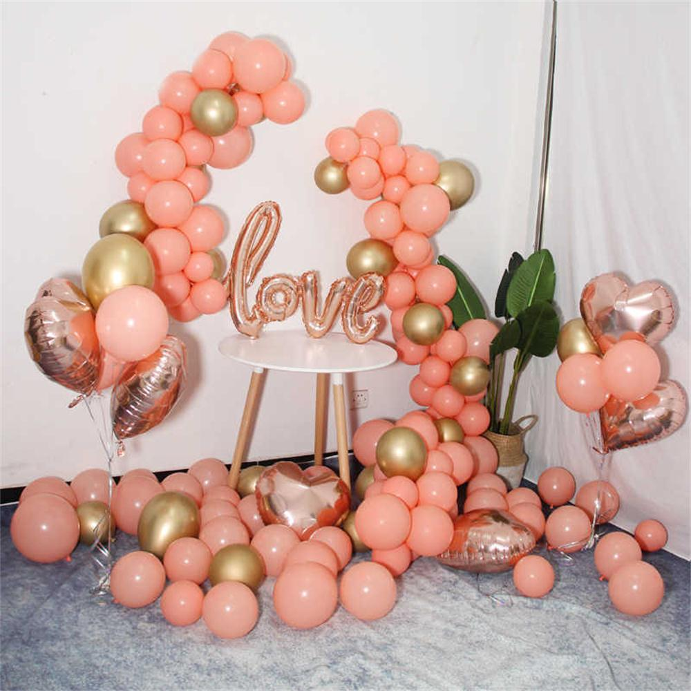 10 Uds ROSA MELOCOTÓN Coral fiesta de compromiso Fondo globo Rosa oro amor boda decoración de fiesta de cumpleaños Baby Shower Supply