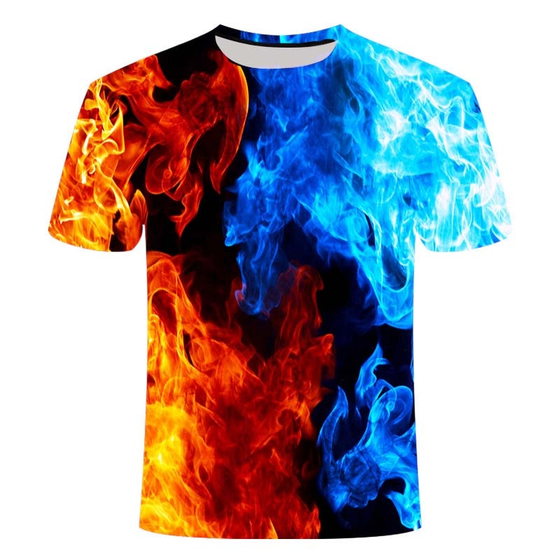 Camiseta informal en 3d para hombre, Camiseta negra de manga corta, azul,...