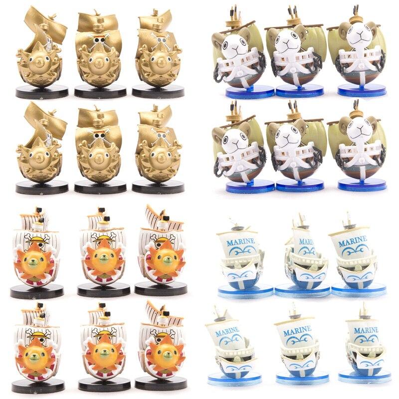 6 unids/set Anime una pieza mil Sunny Going Merry Boat PVC colección de figuras de acción modelo pirata barco juguete cumpleaños regalo Decoración