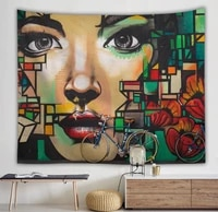 hippie graffiti art wall tapestry abstract indie aesthetic room decor trippy tapestry anime wall hanging boho gothic home decor
