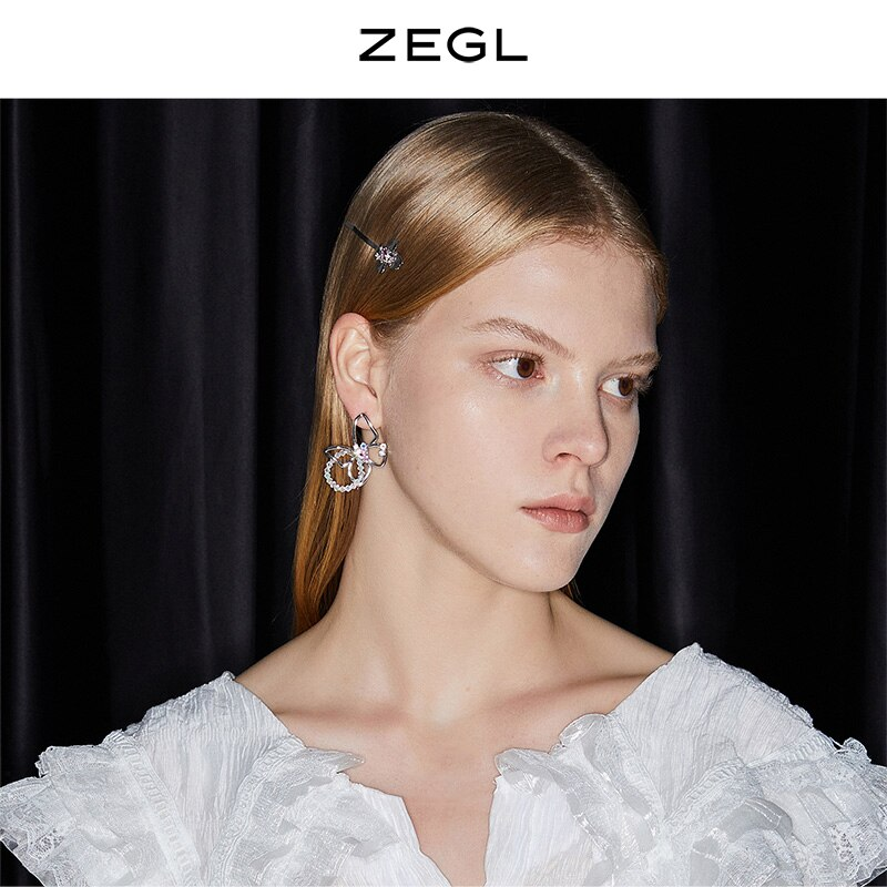 ZEGL Designer Colored Gems Series Porous Butterfly Studs Female Earrings Niche Design 925 Silver Nee