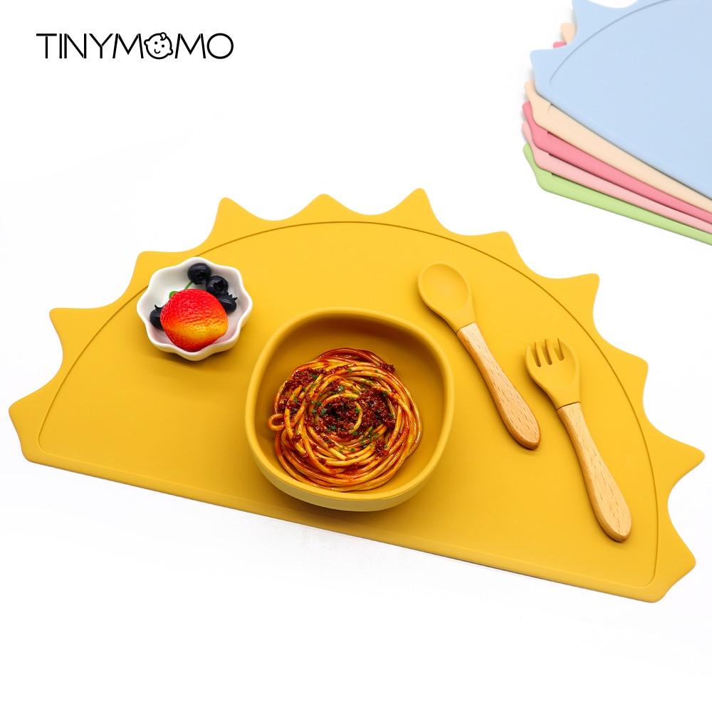 Folding Silicone Placemat Sun Shape Kids plate Mat Food Grade Silicone Heat Resistant Table Pad Portable Easy Cleaning Placemats