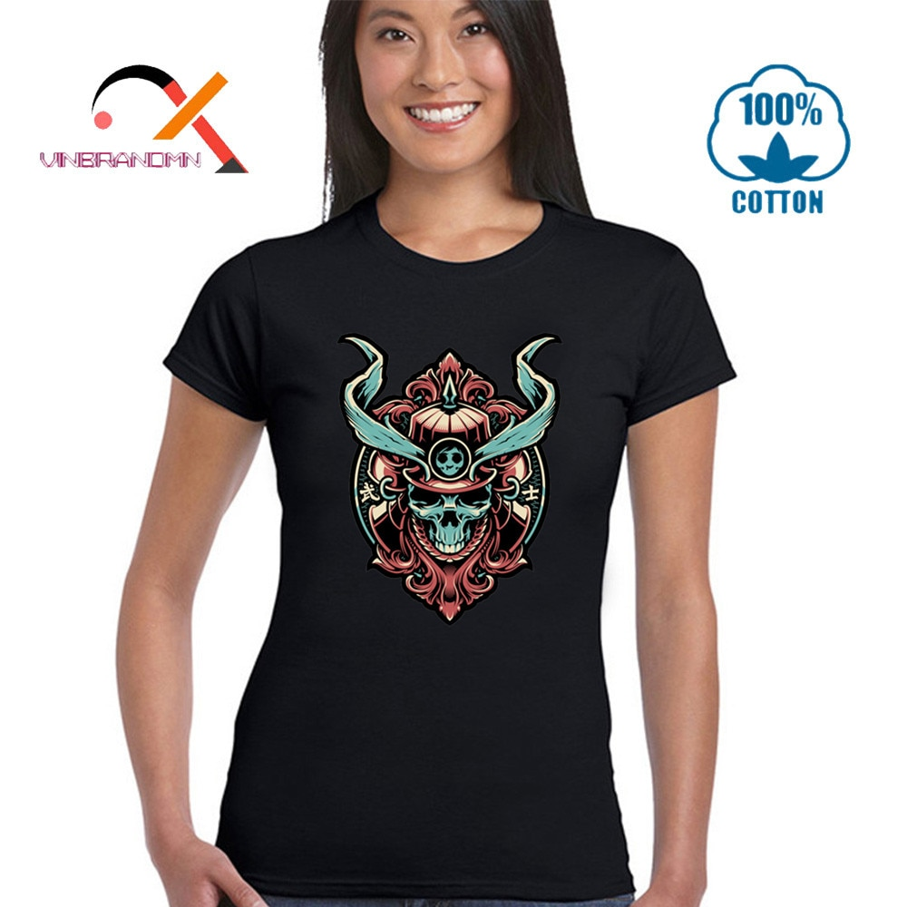 Cool Samurai Warrior Skull camiseta mujer Geek Tees divertida sudadera de alta calidad 100% algodón transpirable camiseta Casual de marca Tops