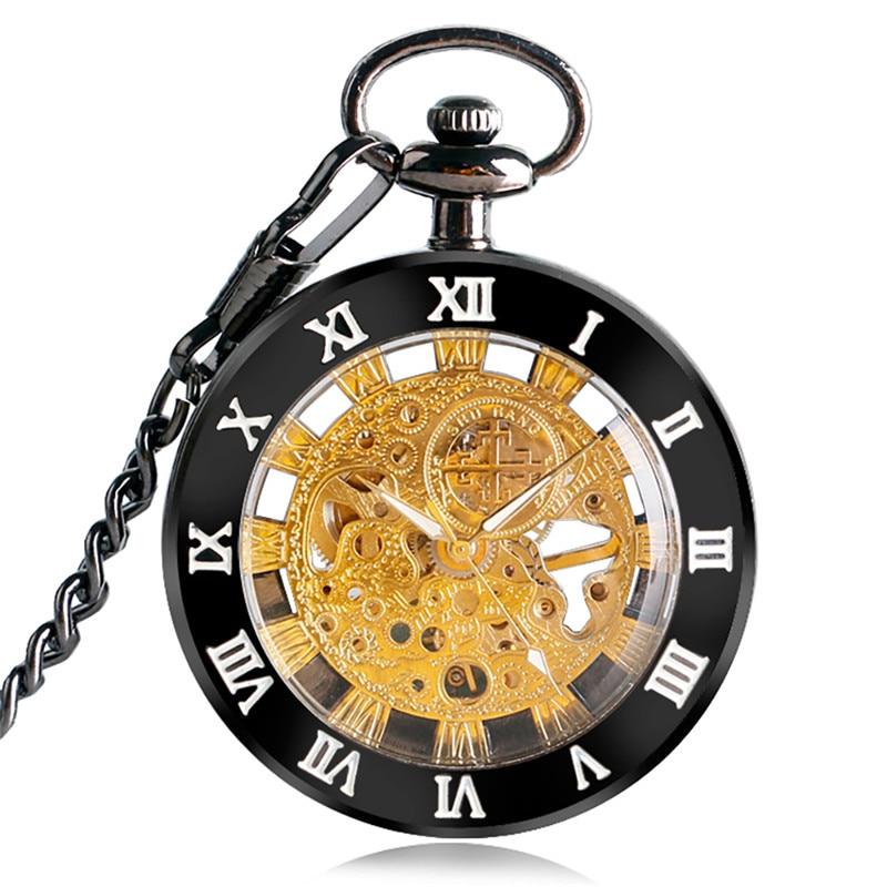 Antique Pocket Watch Alloy Open Face Case Unisex Handwinding Mechanical Watches Manually Skeleton Clock Pendant Chain Present
