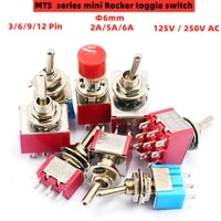 1pcs red mini 36912pin 23position toggle switches dpdt mini toggle switches 6a125v 2a250v ac mts series push button switch