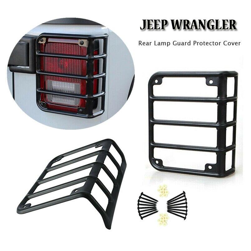Funda protectora de luz trasera duradera para Jeep, marco negro mate para Jeep Wrangler JK 07-18
