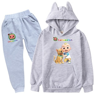2-16Y Anime Cocomelon Dog Clothes Kids Tracksuit Baby Girls Cat Ears Hoody Sweatershirts Pants 2pcs Set Toddler Boys Sportswear