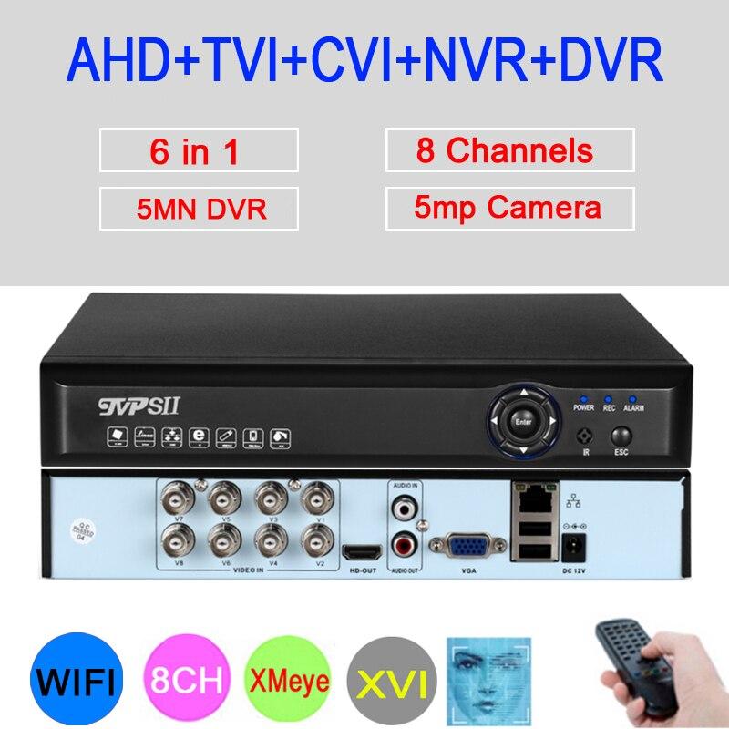 5mp AHD caméra panneau bleu Hi3520D XMeye Audio visage détecter H.265 + 5MN 8 canaux 8CH 6 en 1 hybride Wifi Onvif NVR TVI CVI AHD DVR