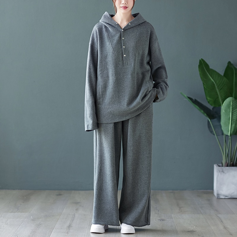 SuperAen Fashion Two-piece Female Autumn Winter Plus Size Knitted Hooded Jacket Casual Wide-leg Pants Women Clothing
