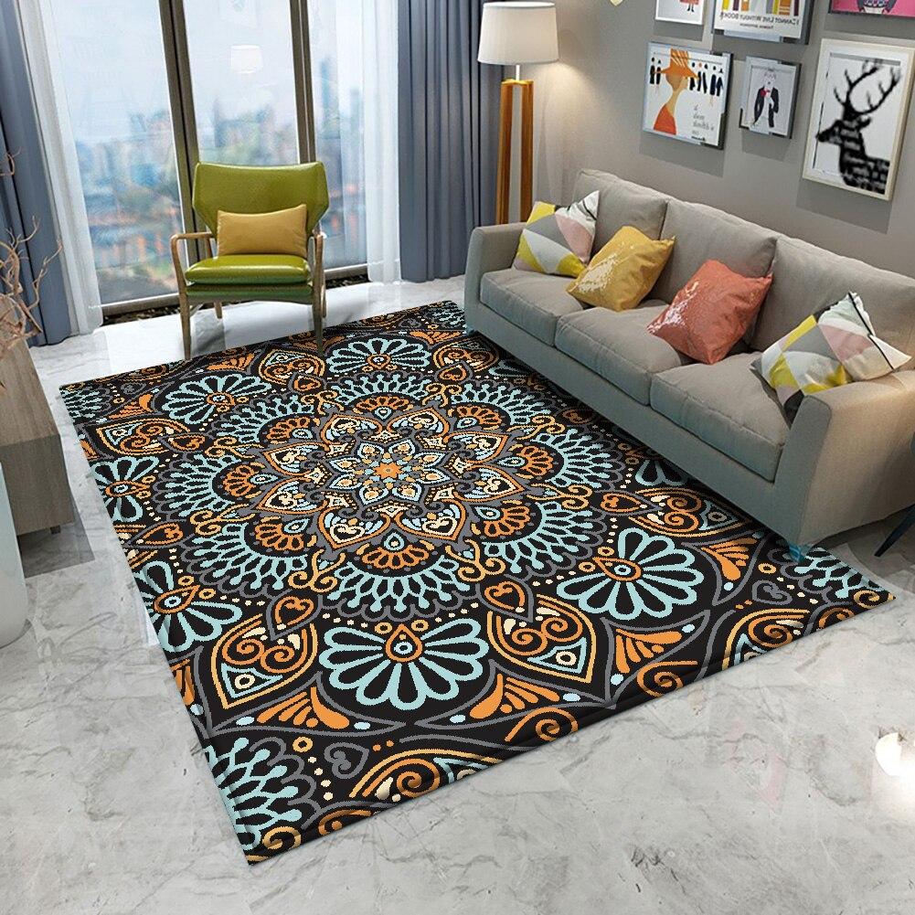 Alfombra antideslizante con diseño Floral para el hogar, tapete de estilo Mandala, colorido, para baño, sala de estar, dormitorio, decoración, salón