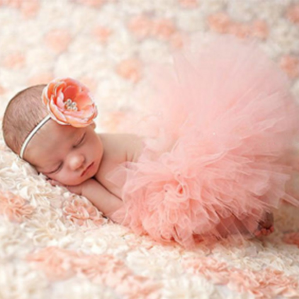 Cute Princess Newborn Photography Props Infant Costume Outfit with Flower Headband Baby Girl Summer Dress