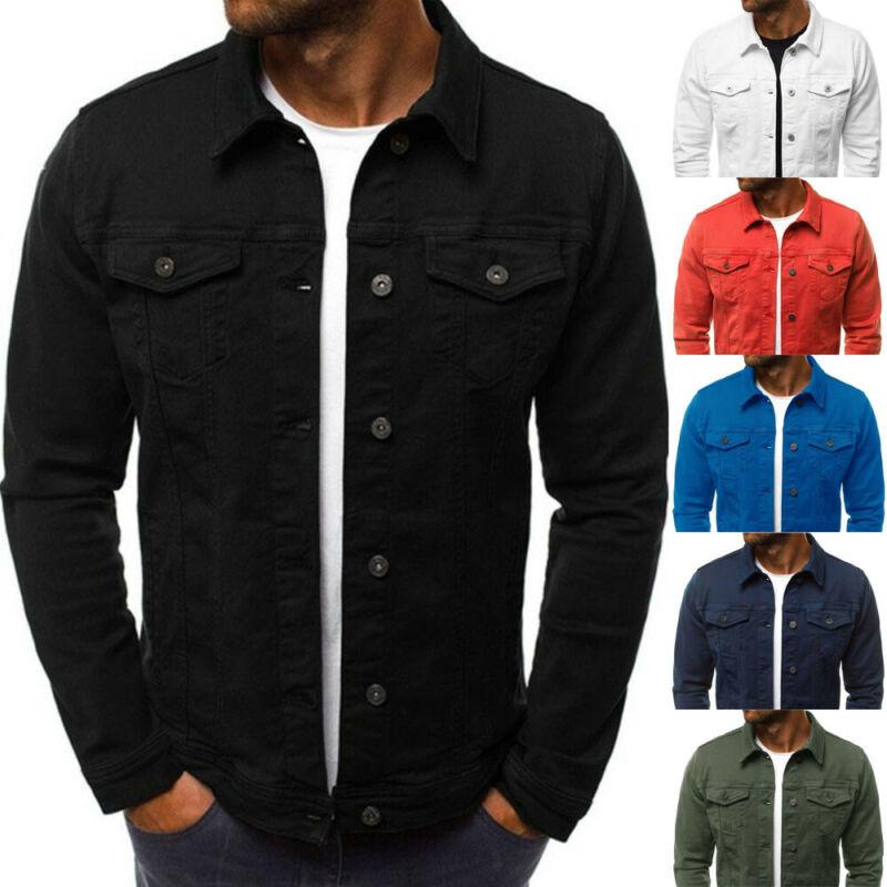Men Denim Jean Jacket Coat Pocket Casual Long Sleeve Slim Fit Outwear Solid Tops