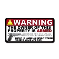 warning pvc the owner of this property is armed decal car sticker personalized car styling decoration 15 2cm7 6cm