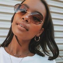 MAYTEN Vintage Oval Rimless Gradient Women Sunglasses Brand Designer Small Round Fashion Eyewear Fem