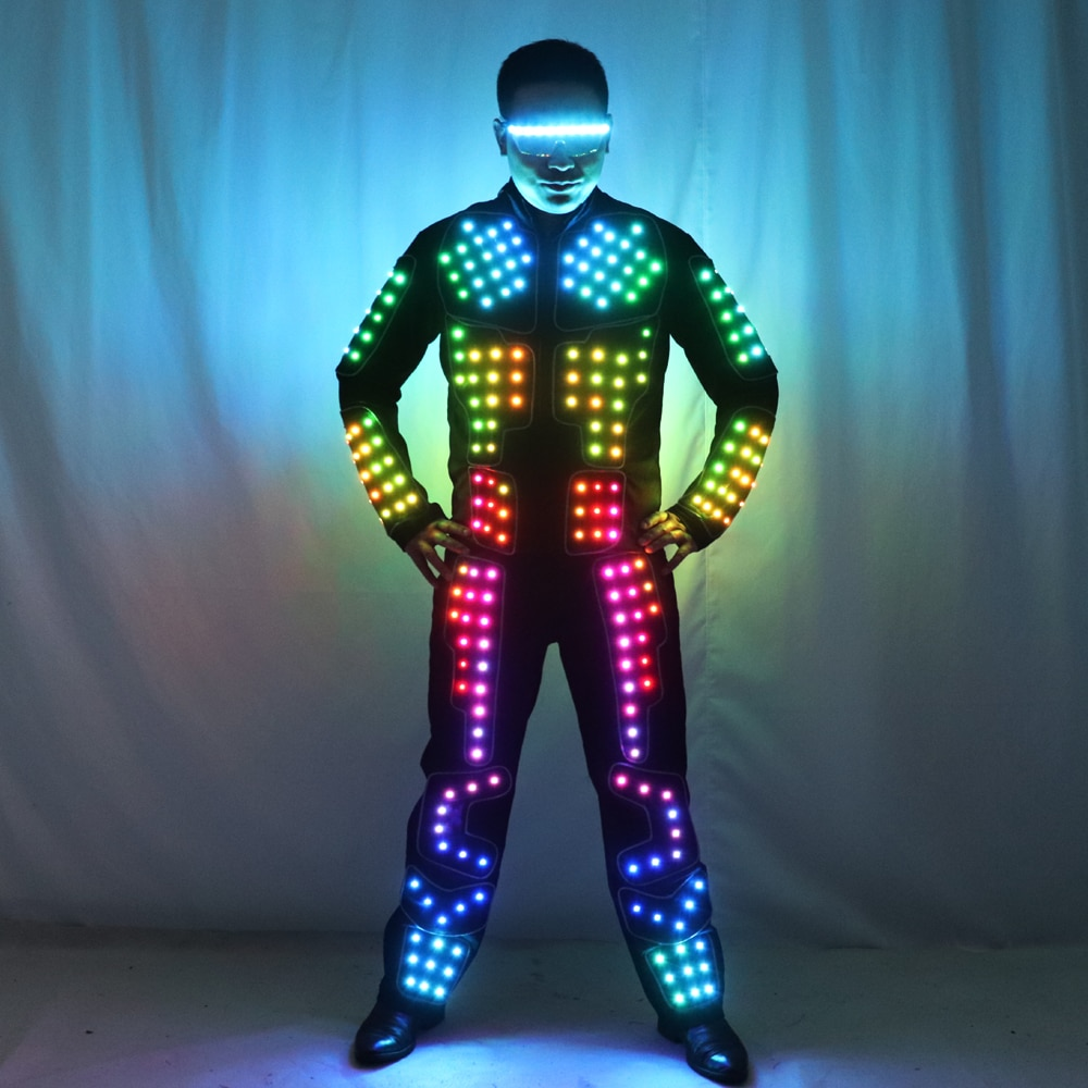 بدلة روبوت LED بالألوان الكاملة ، زي رقص المسرح ، Tron RGB ، بدلة المسرح ، سترة ، معطف
