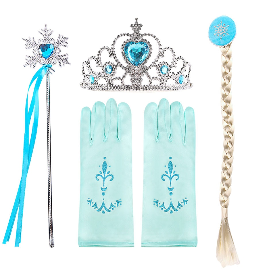 elsa gril kids fall outfits pyjama enfant anna princess birthday party roupas infantis menina halloween cosplay children clothes Girl Elsa Anna Accessories Kids Halloween Thanksgiving Birthday Party Cosplay Aurora Belle Sofia Snow Queen Crown Braid Wand Set