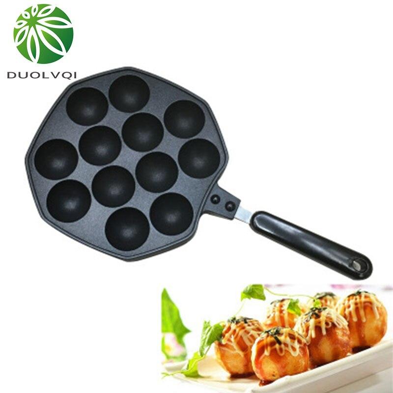 Duolvqi 12 полостей из алюминиевого сплава такояки сковорода устройство для приготовления такояки Осьминог маленькие шарики противень инструменты для домашнего приготовления