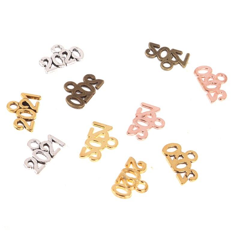 100 peças/lote liga de metal 2020 2021 ano lembrança encantos pingente diy artesanal jóias acessórios