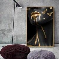 Peinture sur toile doree  noire et doree  affiche imprimee pour salon  Art mural HD  decoration pour la maison