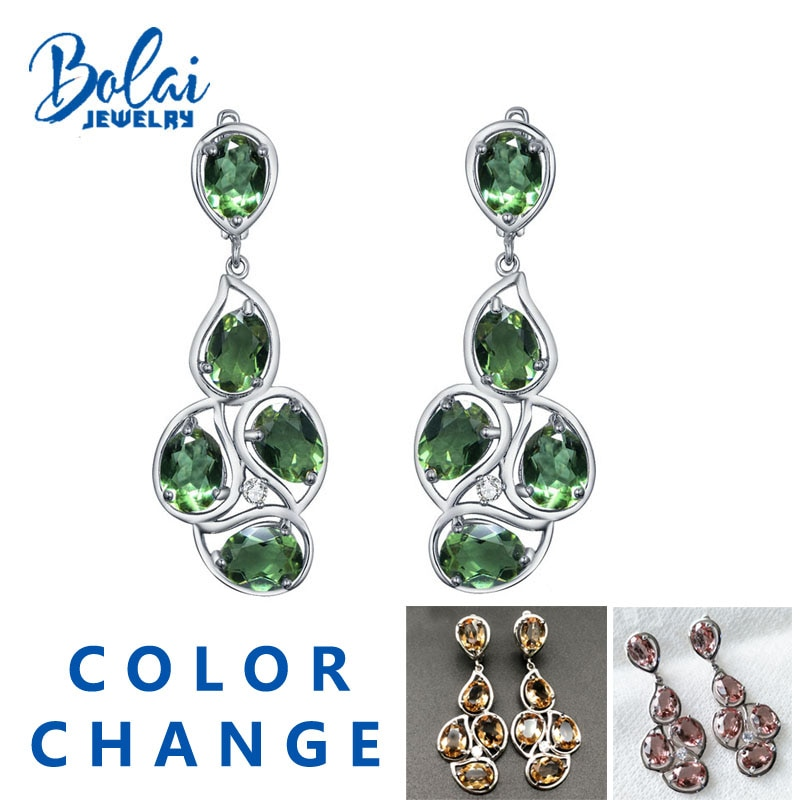 Bolaijewelry-أقراط كبيرة من الفضة الإسترليني عيار 925 مع أحجار كريمة ملونة ، مجوهرات فاخرة للنساء