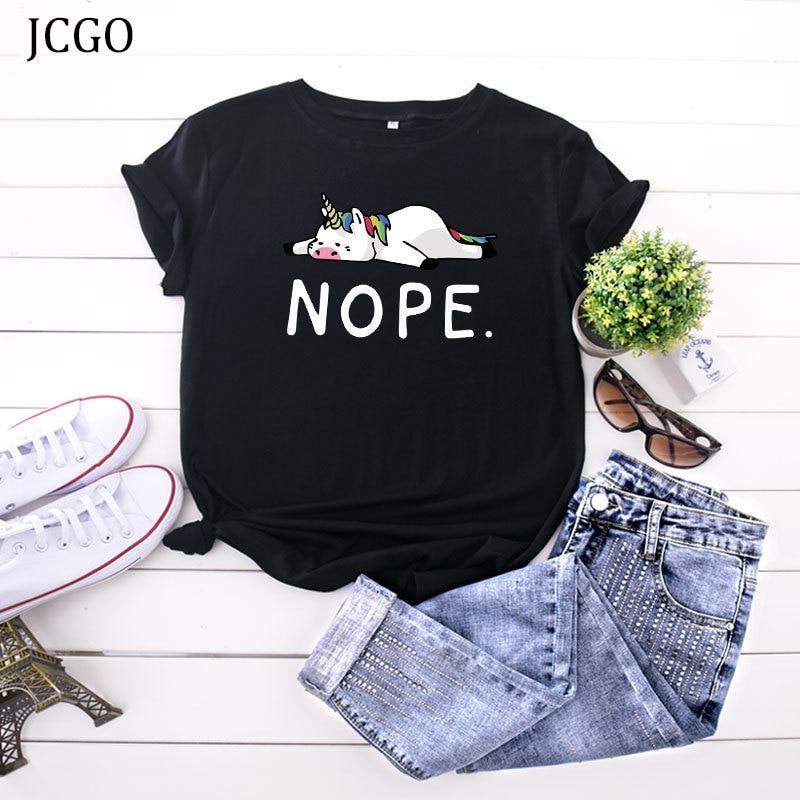 JCGO Frauen T-shirt Sommer Baumwolle Kurzarm Plus Größe S-5XL Oversize Nette Cartoon Unicorn Print O Neck Casual Tee Tops t-shirts