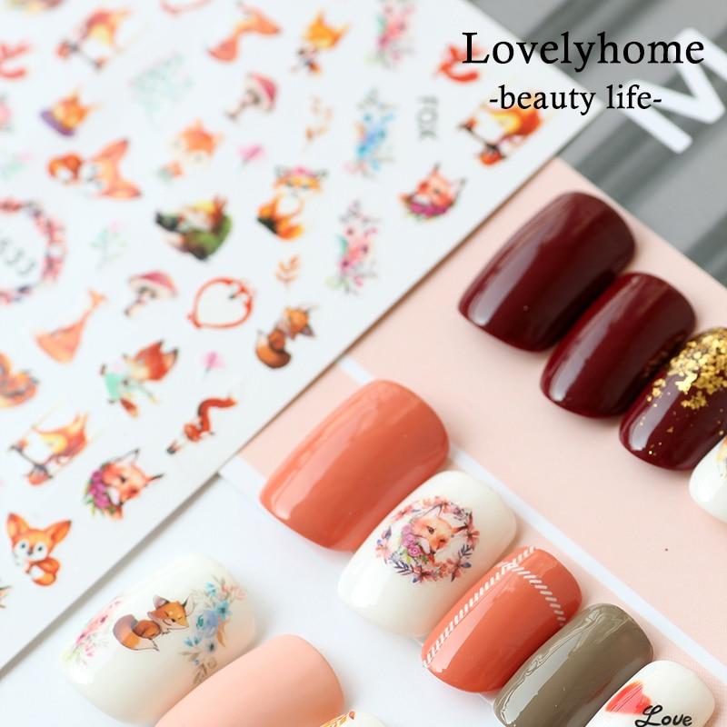 1 Pcs 3D Leuke Dier Vossen Super Dunne Nail Stickers Tips Nail Adhesive Decals Ontwerpen Manicure Decoratie