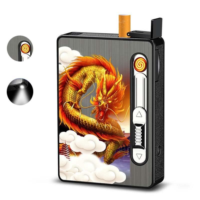 Портативный чехол для электрического сигарета, зажигалка может вмещать 10/20 сигарет, Водонепроницаемая USB перезаряжаемая зажигалка, аксессуары для курения