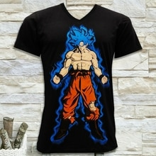 DRAGON BALL SUPER GOKU GOD SAIYAN MENS BLACK V NECK T-SHIRT SIZE S M L XL