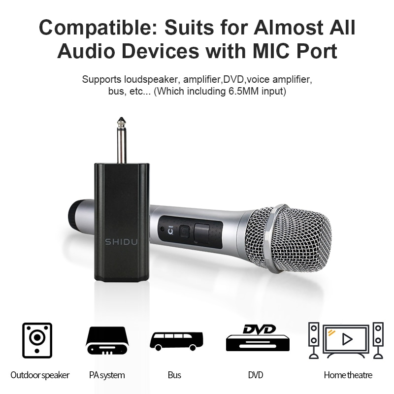 SHIDU U10 Wireless Handheld Dynamic Microphone Omnidirectional Portable Sound Amplifier For Speakers With 6.5mm Plug Receiver enlarge