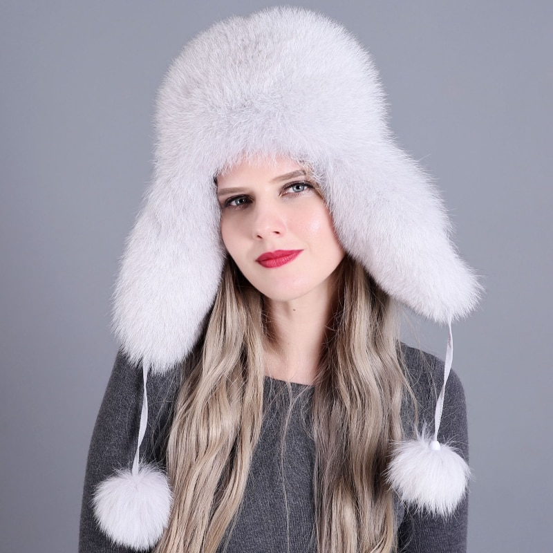 Fur Hat for Women Natural Raccoon Fox Fur Russian Ushanka Hats Winter Thick Warm Ears Fashion Bomber