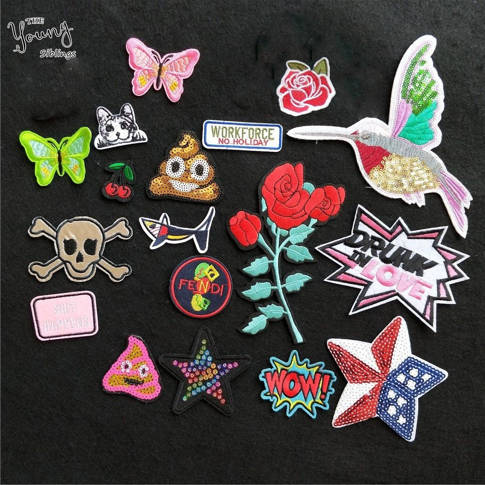 Exquisite butterfly skull WOW Mixed Embroidered Iron On Patch For Clothing Badges Paste Bag Pant Stickers Sewing Accessories