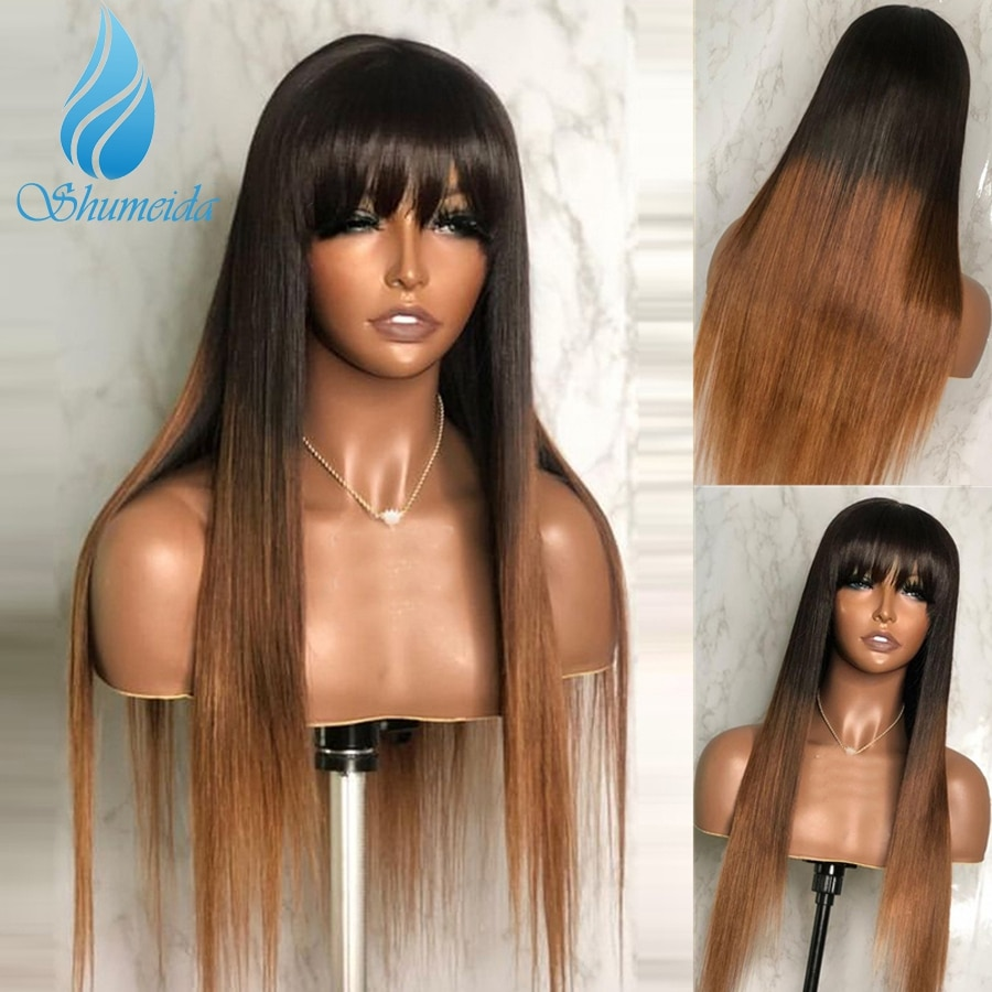 Shumeida Ombre Blonde Color Full Machine Wigs Brazilian Remy Human Hair Long Straight with Bangs For Black Women