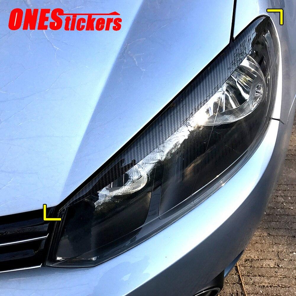 2 uds. Para Volkswagen VW Golf 6 MK6 VI accesorios de estilo de coche faro ceja párpados cubierta embellecedora de decoración tira pegatinas de coche