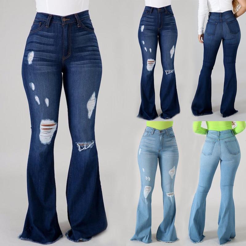 بنطلون جينز نسائي جينز عالي الخصر ضيق وواسع الساق سروال متوهج من الجينز للنساء