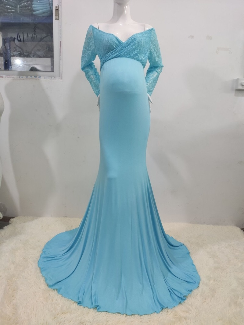 Women Long Sleeve Maternity Dresses for Photo Shoot Sexy Lace Pregnancy Maxi Gown Mermaid Dress Pregnant Photography enlarge