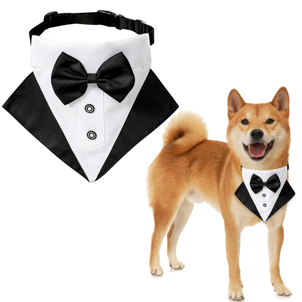 nacoco dog suit pet gents costume formal dress clothes with bow tie halloween gentleman costumes for puppy and cat Pet Dog Cat Bandanas Gentleman Scarf Bow Tie Collar Bowknot Bowtie Wedding Suit Decoration Pet Grooming Accessories