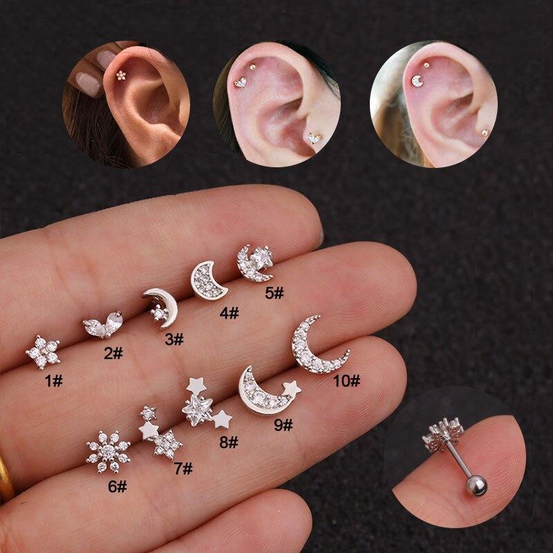 Brincos stud de star moon cz, brincos para mulheres, piercing de osso, cartilagem, unha, aço inoxidável, flor, hélix, tragus, hélixe