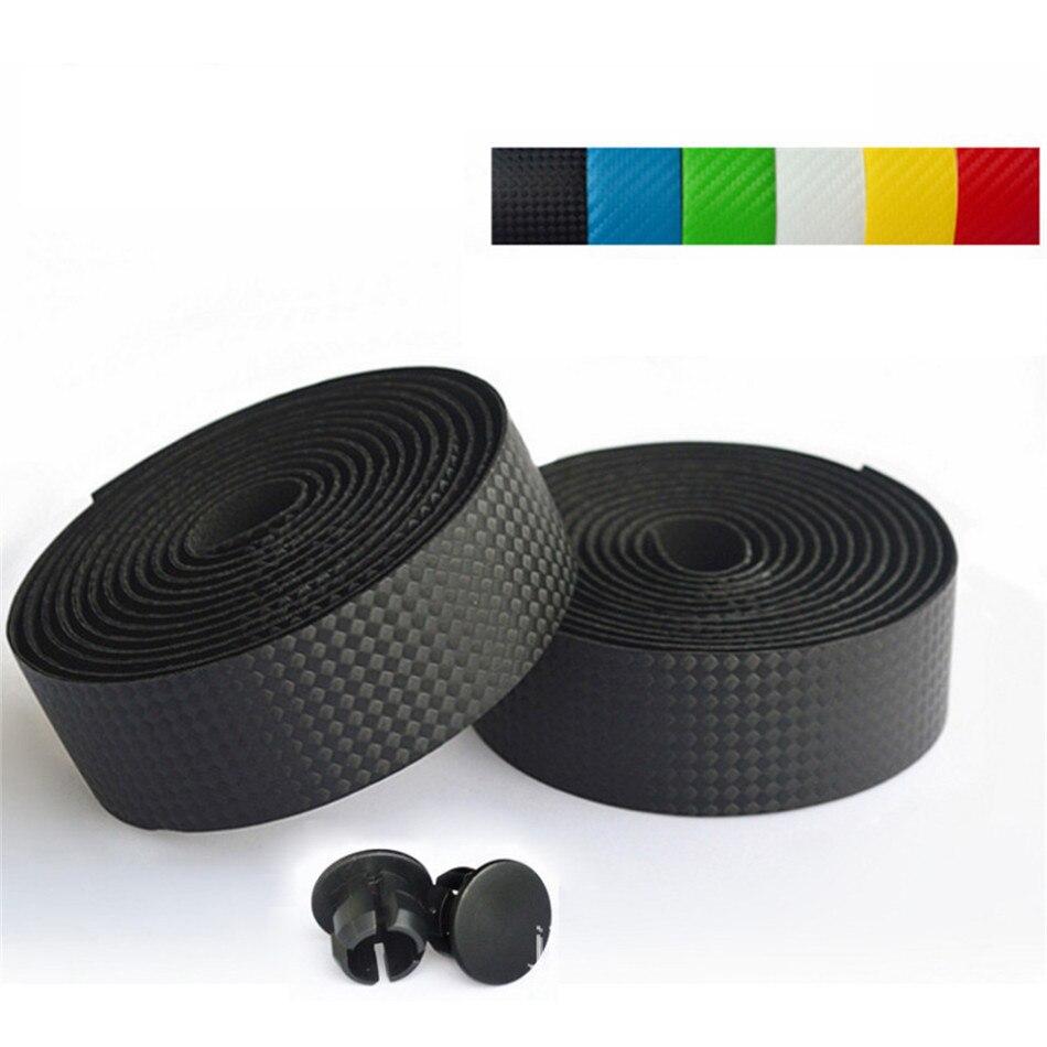 1 par 3M cinta de manillar de bicicleta de fibra de carbono de carretera antideslizante empuñadura de bicicleta MTB cinta de manillar de corcho + 2 tapones de barra correas de cinturón de montaña