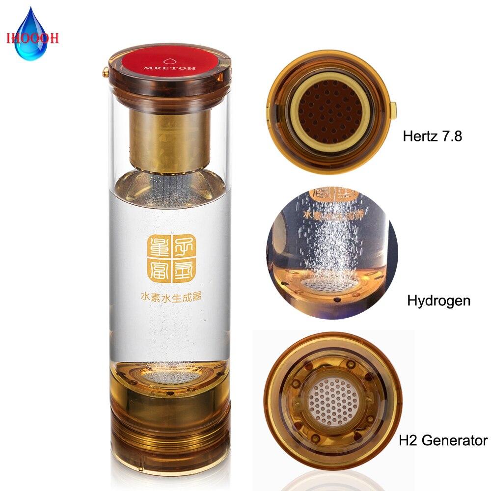 المحمولة الغنية مولد الهيدروجين زجاجة ماء PEM التحليل الكهربائي النقي H2 المؤين الرنين الجزيئي 7.8 هرتز كوب الشرب الصحية