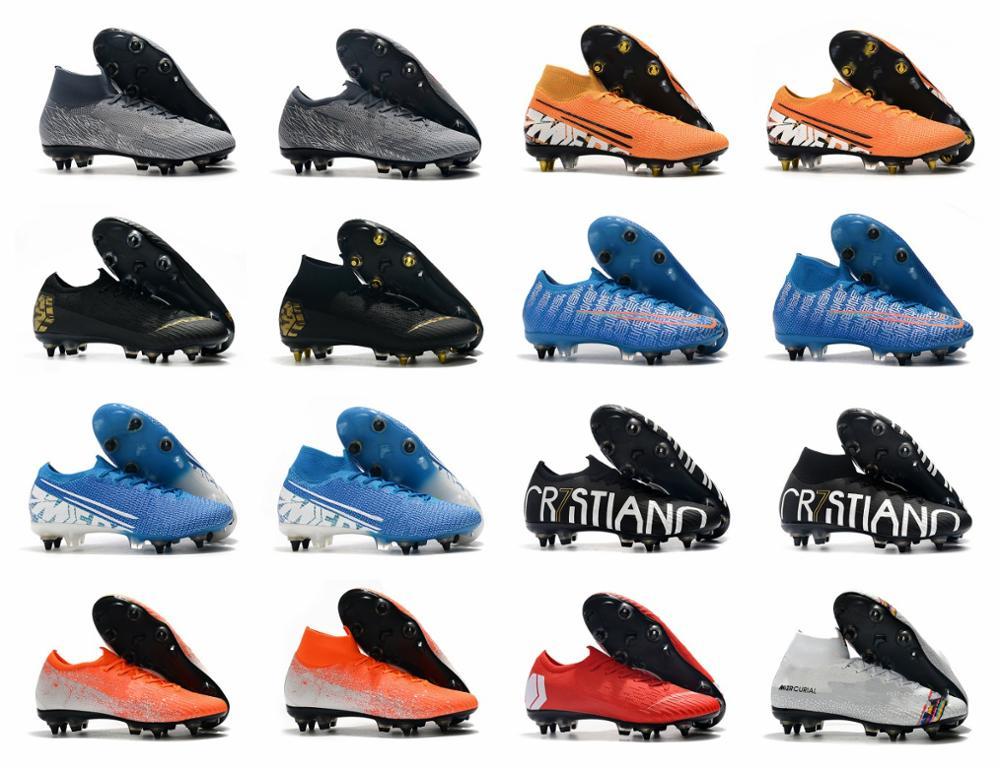 2019 mens soccer shoes Vapors Fury VII Elite CR7 SE SG soccer cleats Superfly VI Elite SG AC football boots scarpe calci Size 6.