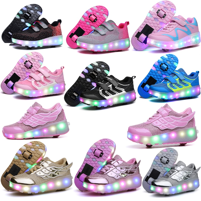 Two Wheels Luminous Sneakers Led Light Roller Skate Shoes Eur Children Kids Led Shoes Boys Girls Shoes Light Up With wheels Shoe